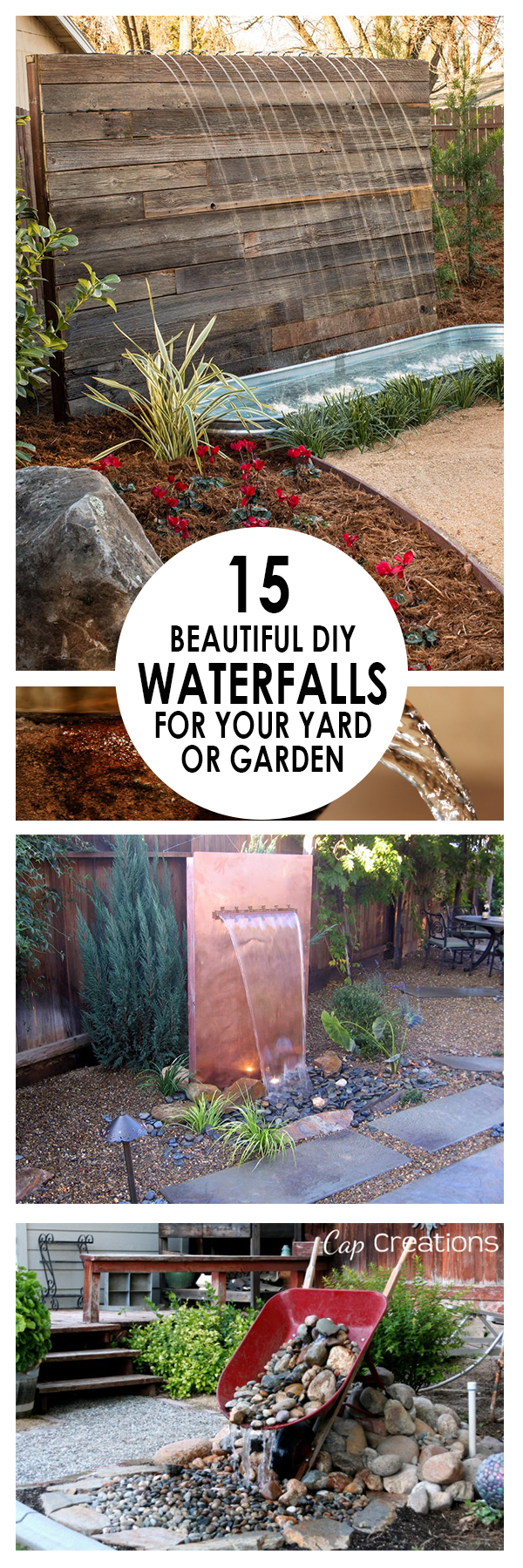 DIY Waterfalls, DIY Waterfall Projects, DIY Waterfall, DIY Water Feature, Garden Ideas, Outdoor DIY