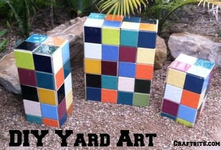 If you are looking for a piece of artwork for your yard, consider adding an outdoor mosaic, as they really tie yard features together. These garden blocks are always a fun addition!