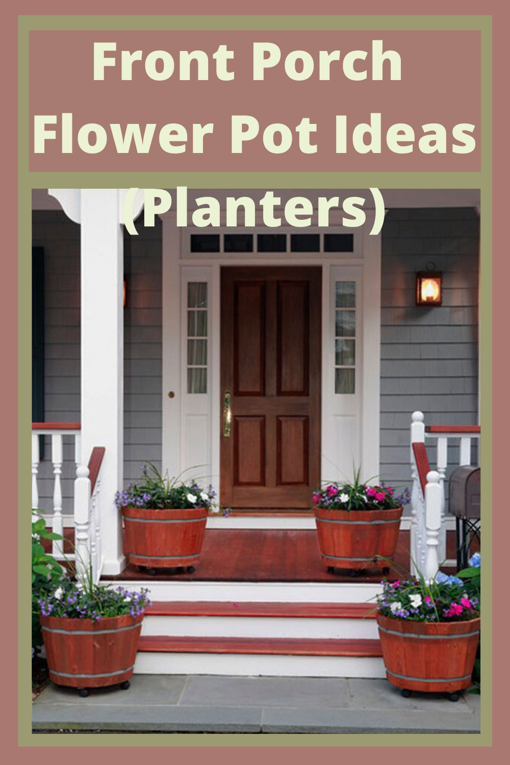 Planters go well in a garden but they also make front porches come to life. Packed with powerful perennials or annuals, the color creates gorgeous curb appeal all while making your porch happy. And you as well. Keep reading for quick and easy front porch flower pot ideas that make your porch POP! #frontporchdecor #frontporchideas #curbappeal #beesandrosesblog