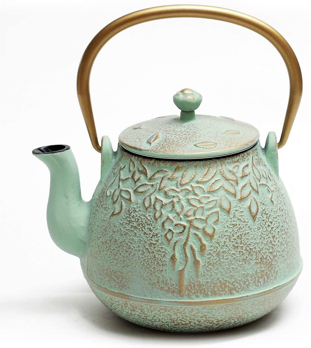 Green Japanese Cast iron teapot- how to grow an indoor herb garden