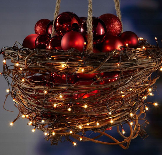 hanging basket with christmas lights and baubles