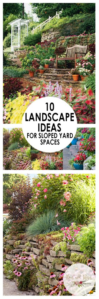 Sloped Yard Spaces, Sloped Yard, Landscaping Ideas, Landscape Ideas, Landscape Ideas Front Yard, Landscaping Ideas Backyard
