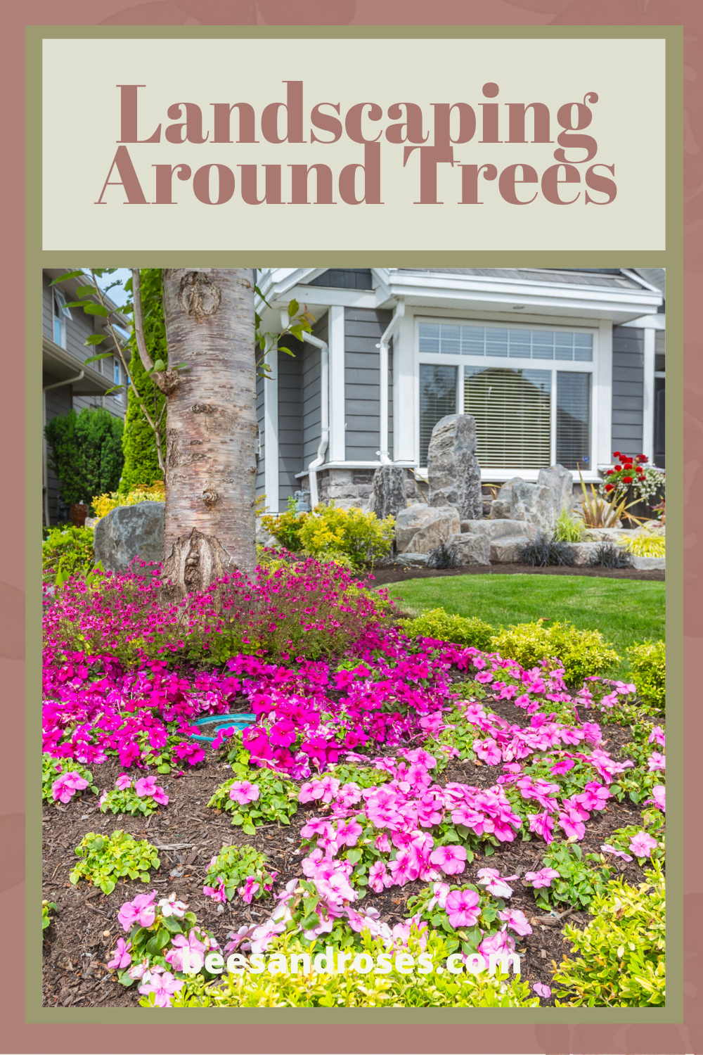 One of the easiest ways to upgrade the look of your yard is to landscape around trees. Most don't do it, but it is easy and makes a huge difference in how things look. Read on for more info and ideas. You will be able to quickly and easily make a huge improvement to your yard. #landscapingaroundtrees #landscapeideas #flowersaroundtrees #beesandrosesblog