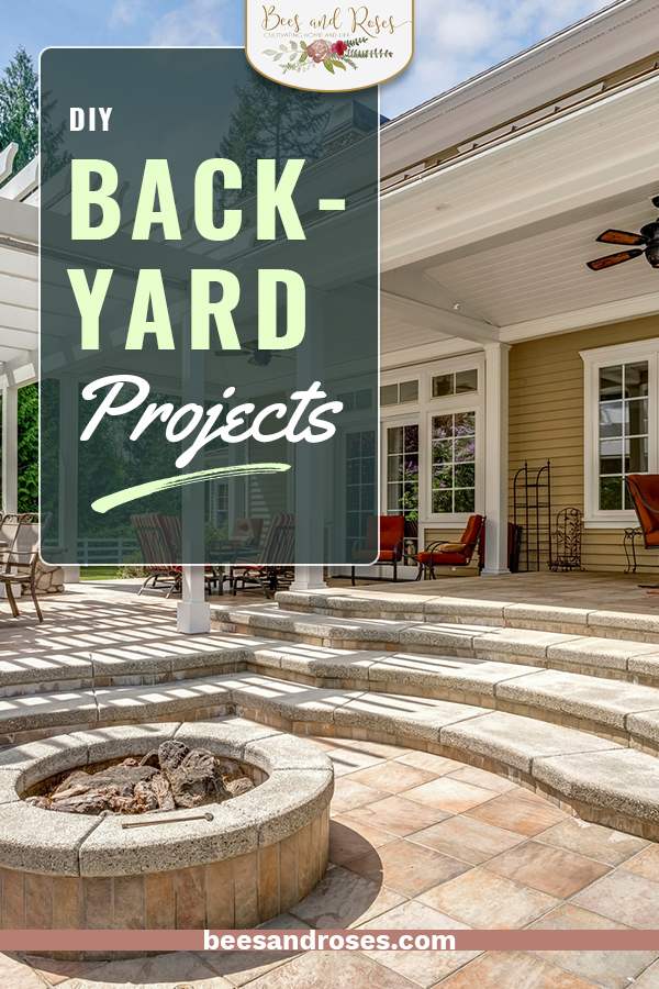 "Not all backyard projects are easy enough to finish in a weekend. I've got a few you need to see! These are all DIY and can be finished before they get too stale to enjoy the ""doing"" part of it! #beesandrosesblog #diybackyardprojects #easydiybackyardprojects"
