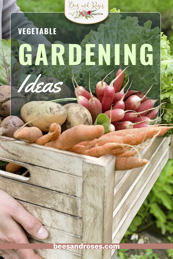 Eager to get gardening now that the grocery stores are full? Learn how to grow your own vegetables with these vegetable gardening ideas for an incredible crop yield. You'll never have to go to the store again. #beesandrosesblog #gardening #vegetablegarden