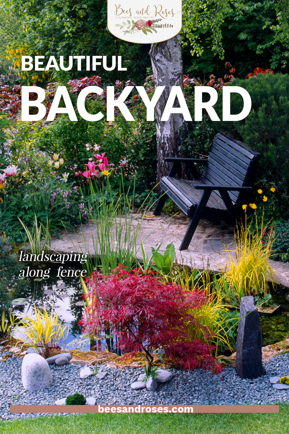 Fences are crucial for backyard privacy but they can be tricky to landscape around. But not anymore, check out these awesomely easy ways to landscape along your fence. #gardening #landscaping #beesandrosesblog