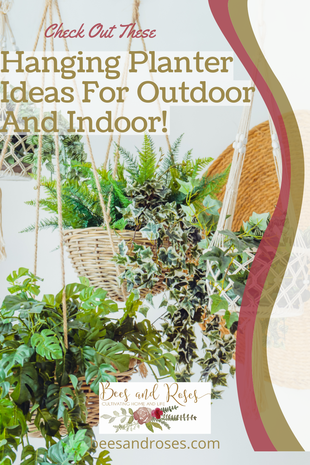 You can turn just about anything into a hanging planter that works with these easy DIY planter ideas. Use what you have around the house to pull these off. #beesandrosesblog #DIY #planters