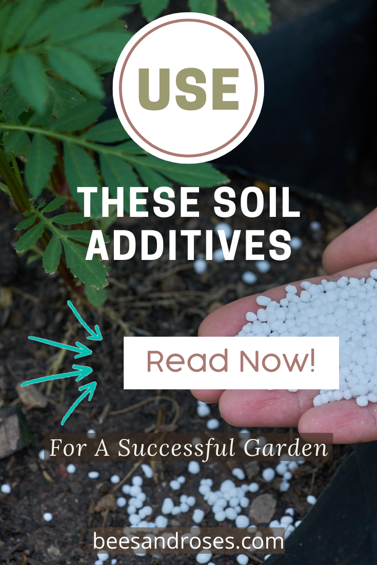 Garden soil often needs additives to provide the rich mineral content your veggies and plants need. Learn which products are best and how they improve the soil conditions. Productive gardens start in the soil. #gardens #soiladditives #gardeningtips #beesandrosesblog