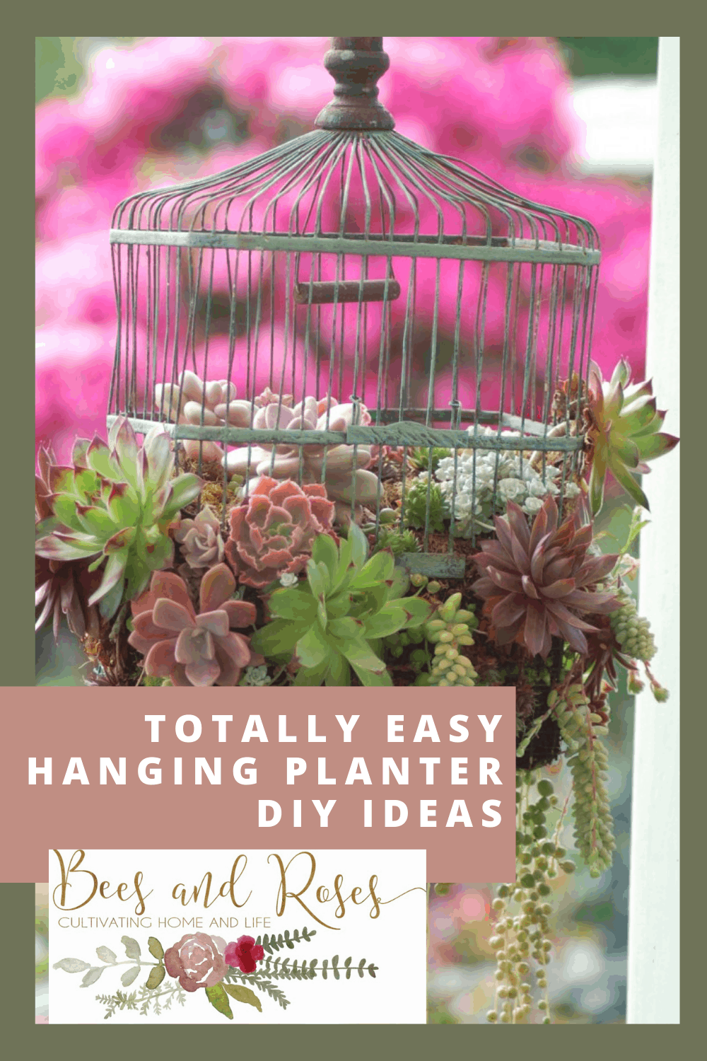 Beesandroses.com makes gardening accessible and easy for anyone! Find tips and tricks to help you master your green thumb! Get creative with these DIY hanging planters that look and function great!